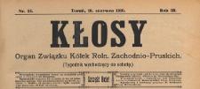 Kłosy : organ Związku Kółek Rolniczych Zachodnio-Pruskich, 1910.06.18 nr 25