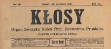 Kłosy : organ Związku Kółek Rolniczych Zachodnio-Pruskich, 1910.06.25 nr 26