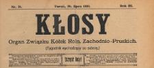 Kłosy : organ Związku Kółek Rolniczych Zachodnio-Pruskich, 1910.07.30 nr 31