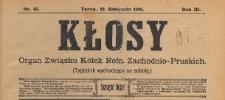 Kłosy : organ Związku Kółek Rolniczych Zachodnio-Pruskich, 1910.11.12 nr 46