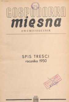 Gospodarka Mięsna, 1950, spis treści