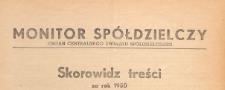 Monitor Spółdzielczy : oficjalny organ Centralnego Związku Spółdzielczego, 1950, skorowidz treści