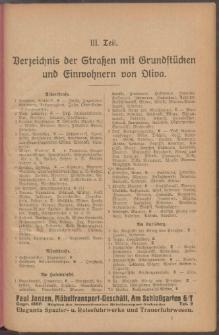 Adressbuch der Gemeinde Oliva : auf Grund amtlicher Quellen und privater Mitteilungen.