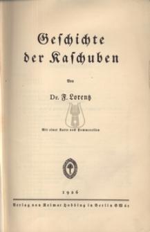 Geschichte der Kaschuben. Mit einer Karte von Pommerellen