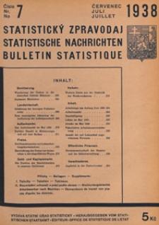 Statistický Zpravodaj = Statistische Nachrichten = Bulletin Statistique, 1938 nr 7