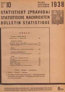 Statistický Zpravodaj = Statistische Nachrichten = Bulletin Statistique, 1938 nr 10