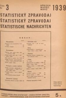 Statistický Zpravodaj = Statistische Nachrichten = Bulletin Statistique, 1939 nr 3