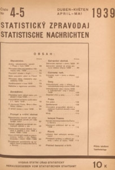 Statistický Zpravodaj = Statistische Nachrichten = Bulletin Statistique, 1939 nr 4-5