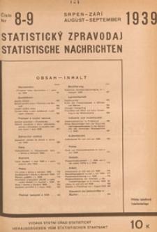 Statistický Zpravodaj = Statistische Nachrichten = Bulletin Statistique, 1939 nr 8-9