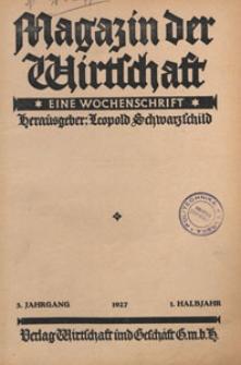 Magazin der Wirtschaft : eine Wochenschrift, 1927, Inhaltsverzeichnis