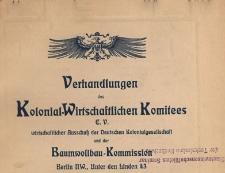 Verhandlungen des Kolonial-Wirtschaftlichen Komitees, 1908.05.27 nr 1