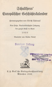 Schulthess' europäischer Geschichtskalender : Neue Folge, 1923