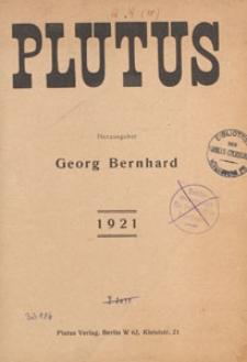 Plutus : Kritische Wochenschrift für Volkswirtschaft und Finanzwesen, 1921, Verzeichnis des Inhalts