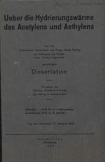 Ueber die Hydrierungswärme des Acetylens und Aethylens